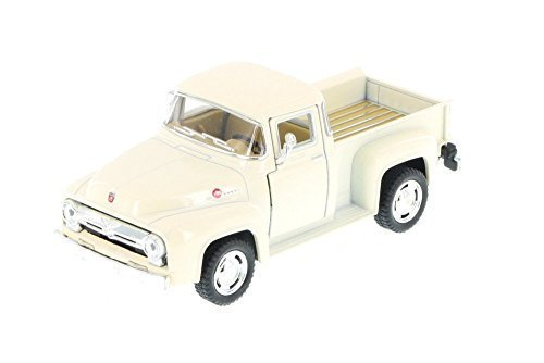 1956 Ford F-100 Pickup Truck, White - Kinsmart 5385D - 1/38 Scale Diecast Model Toy Car by Kinsmart