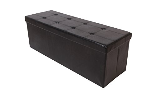 Black Bonded Leather Folding Tufted Storage Ottoman Bench Foot Rest Portable 47.5
