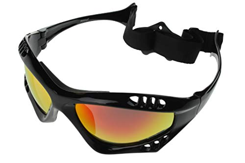 G&G Polarized Water Sport Sunglasses Surfing Kiteboarding Jetski (Black/Red)