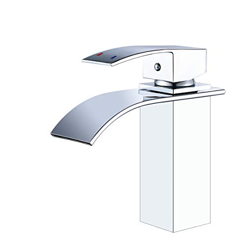 ROVATE Waterfall Bathroom Faucet, Brass Single Handle Single Hole Vanity Sink Faucet, Stainless Steel Rectangular Faucet Spout, Chrome (Bath And Sink Set Taps)