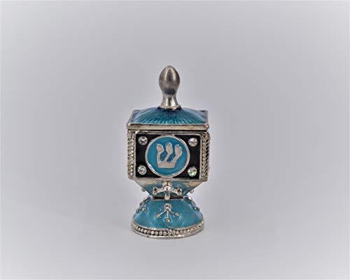 Ciel Collectables Bejeweled Dreidel Trinket Box on Stand. Hand Painted Enamel with Swarovski Crystals