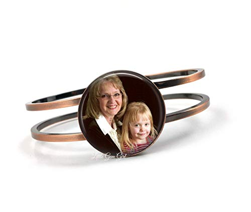 Custom Photo Bracelet with Your Personalized Picture in Antique Copper or Bright Silver Finish