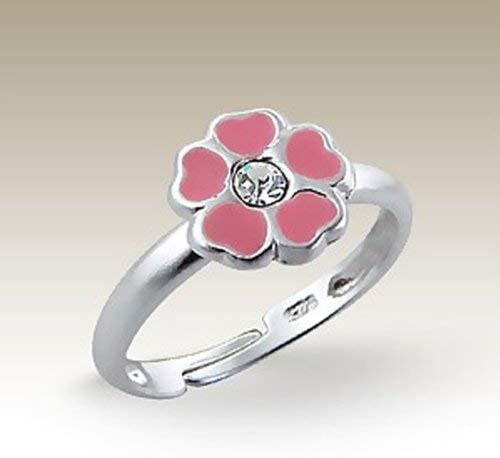 Children Ring Pink Flower Girls Crystal Size Adjustable 3-4 Sterling Silver 925 Small E5564