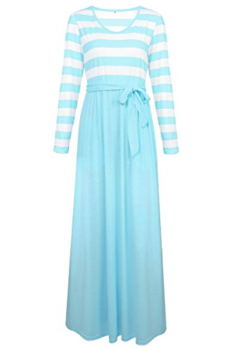Sleeve Blue Zhaoyun Long Elegant Belt Line A Dress Dress Women's Casual tSqfSpB4