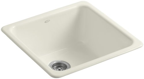 Undermount Biscuit Sink (KOHLER K-6587-96 Iron/Tones Self-Rimming Undercounter Kitchen Sink, Biscuit)