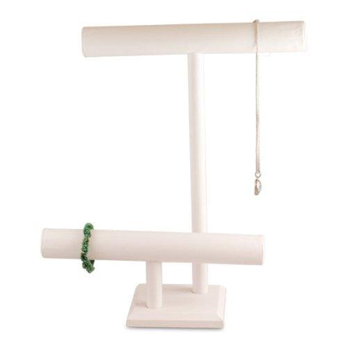 White Faux Leather 2 Tier Necklace Bracelet T-Bar 16