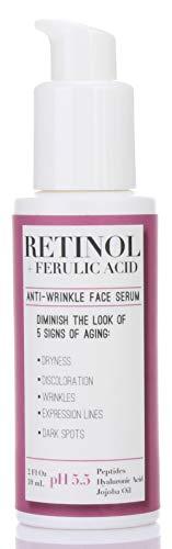 31Pt%2Bv5OCbL - Medix 5.5 Retinol Cream & Retinol Serum two-piece set. Anti-aging retinol set w/ferulic acid for wrinkles, fine lines, expression lines, dark spots. Contains 2oz serum & 15oz cream for face & body