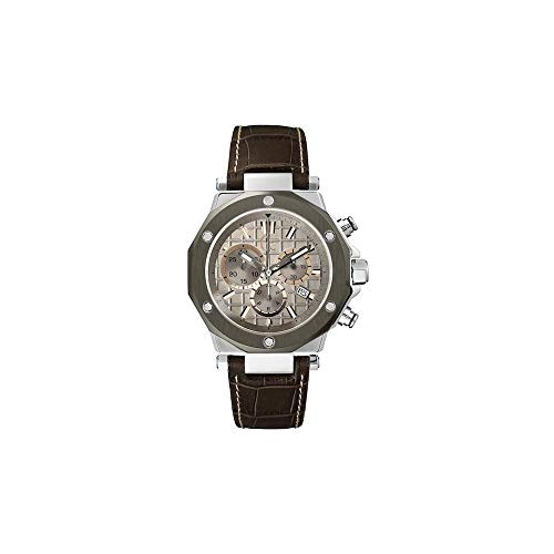 Guess Collection Mens Stainless Steel Case and Leather Strap, Gray Dial with Chronograph, Swiss Watch - X72026G1S