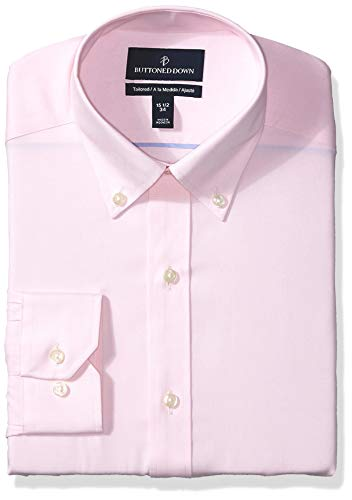 BUTTONED DOWN Men's Tailored Fit Button Collar Solid Non-Iron Dress Shirt, Light Pink/no Pockets, 17
