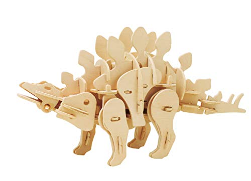 ROBOTIME DIY Wooden Dinosaur 3D Puzzle Mini Stegosaurus Robot Toy for Boys and Girls