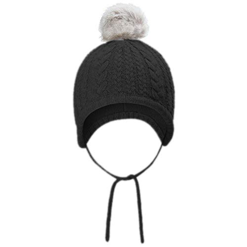 Price comparison product image Opromo Toddler Kids Winter Ear Flap Beanie Hat Baby Boy Girl Fur Pompom Knit Hat-Black-M / 6~12 Months