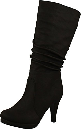 - Top Moda Womens Page-43 Mid Calf Round Toe Slouched High Heel Boots, Brown 6