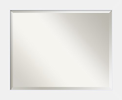 Framed Vanity Mirror | Bathroom Mirrors for Wall | Corvino White Mirror Frame | Solid Wood Mirror | Medium Mirror | 26.88 x 32.88