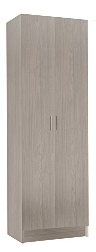 Habitdesign 007144R- Armario dos puertas multiusos, armario auxiliar, color Roble, 180 x 58.5 x 37 cm de fondo