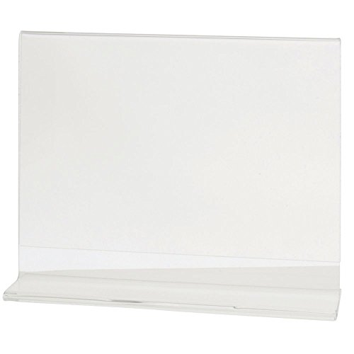 "HUBERT Acrylic T-Base Sign Holder Clear Acrylic Horizontal - 7""L x 5 1/2""H"