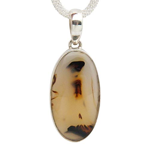 Fundamental Rockhound: Montana Moss Agate Gemstone Sterling Silver Pendant Necklace on 18