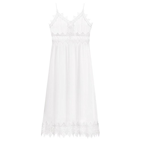 MiGMV?Robes Robe de Longueur Moyenne, Femme Jupe, Jupe en Dentelle sans Manches, Sling Jupe,L,White