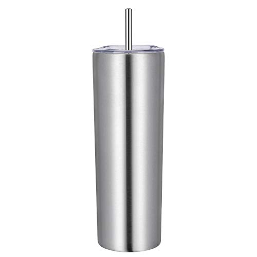 VEGOND Stainless Steel Skinny Tumblers, 20 oz Vacuum Insulated with Lids and Straws, Double Wall Coffee Mug, Travel Water Cup