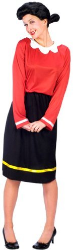 Fun World Womens Adult Olive Oyl Fancy dress costume, Black,Red, Small/Medium (2-8) by PARTY STREET (Olive Oyl Fancy Dress)