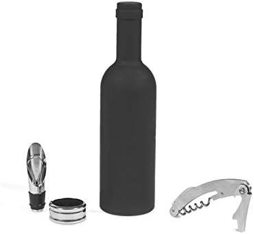 Home SOMMELIER Estuche con forma de botella con 3accesorios para vino, Negro