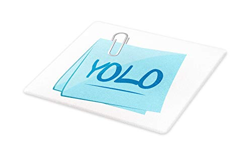 Ambesonne YOLO Cutting Board, Abbreviation of Popular Contemporary Slogan on a Memo Post Theme, Decorative Tempered Glass Cutting and Serving Board, Large Size, Grey Blue and Pale Blue