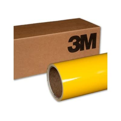 VViViD 3M Gloss Bright Yellow Vinyl Film Wrap 12 Inches x 5 Feet Roll DIY Easy to Install Self-Adhesive 1080 Series: Automotive