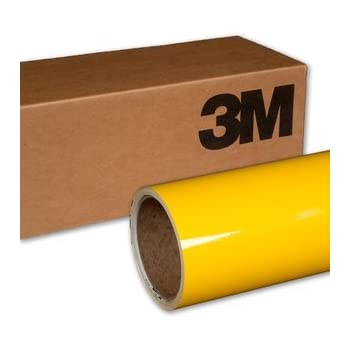 VViViD 3M Gloss Bright Yellow Vinyl Film Wrap 12 Inches x 5 Feet Roll DIY Easy to Install Self-Adhesive 1080 Series