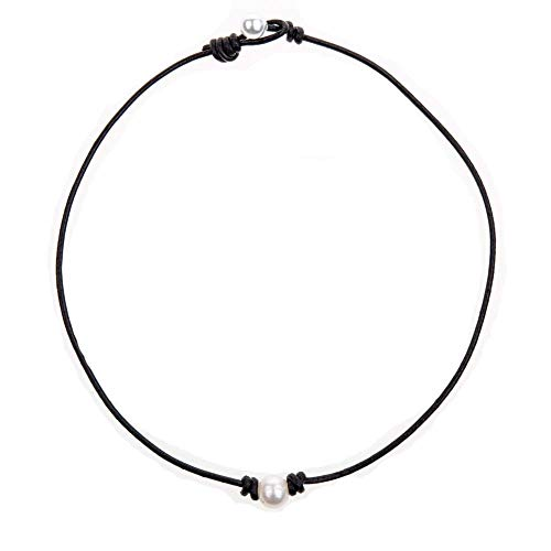 Bodai Handmade Genuine Leather Choker Necklace for Women Freshwater Pearl Jewelry (15, pearl)]()