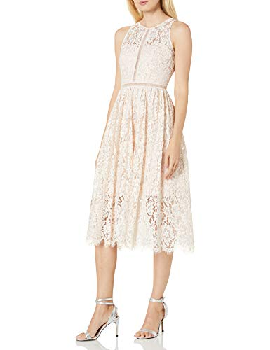 Adrianna Papell Women's Tea Length Halter Lace Party Dress, Blush, 12