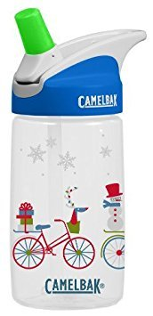Camelbak eddy Kids .4L BPA Free Drinking Water Bottle w/ Bite Valve & Straw Excellent Winter Holiday Christmas Gift For Children (Bikes in Snow)