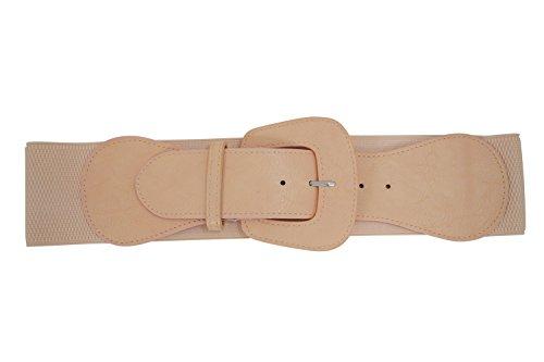 [Retro Vintage Chunky Buckle Elastic Wide Stretch Waist Belt (Peach)] (Belt Peach)