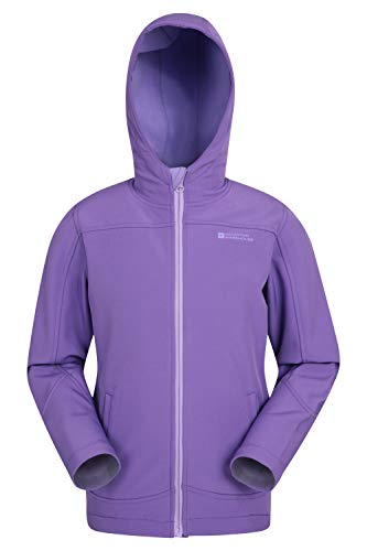 Mountain Warehouse Exodus Kids Softshell Jacket -Wind Resistant Shell Light Purple 5-6 Years
