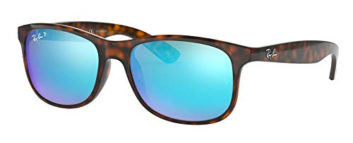 Ray-Ban RB4202 ANDY 710/9R 55M Shiny Havana/Green Mirror Blue Polarized Sunglasses For Men For ()