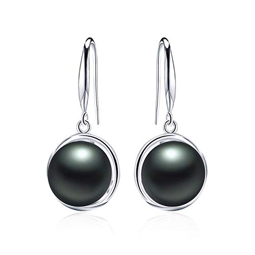 Earring 925 Sterling Silver Earrings For Women 9-10Mm Natural Pearl Jewelry 3 Colors Stud Earrings,Black Pearl