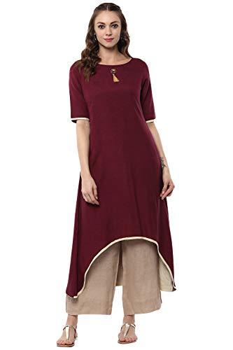 Aahwan Women's Indian Kurtis Rayon Long Dress Burgundy XX-Large - 44