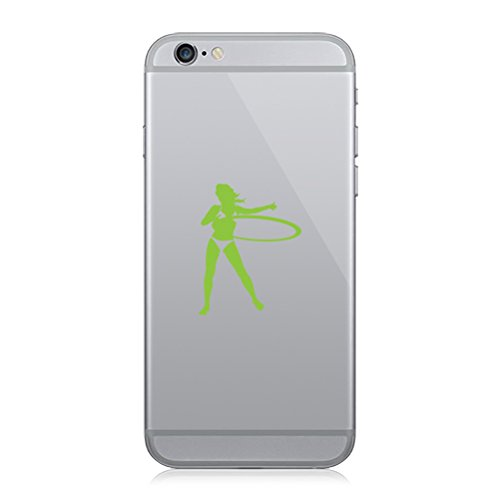 RDW Pair of Hula Hoop Girl Cell Phone Stickers Mobile beach sexy - Lime Green ()