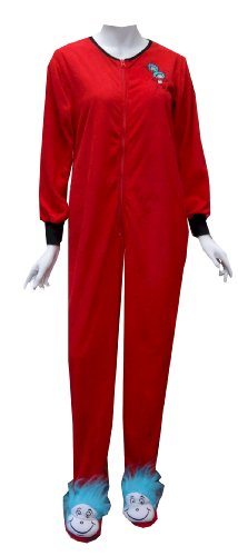 Dr Seuss Thing One And Thing Two One Piece Footie Pajama for women (Large)