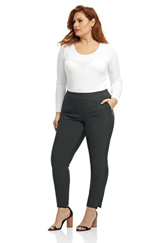 (Rekucci Curvy Woman Ease in to Comfort Fit Modern Skinny Plus Size Pant w/Tummy Control (14WSHORT,Spruce))