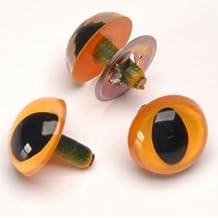 9mm Yellow Cat Eyes - Bulk with metal washer - 100 pcs