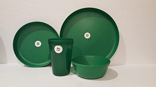 "Children's Dinnerware Set,1-each: Plates: 9½ & 7¼ & Bowl: 5"" & Tumbler: 4 3/4 (Emerald Green) ()"