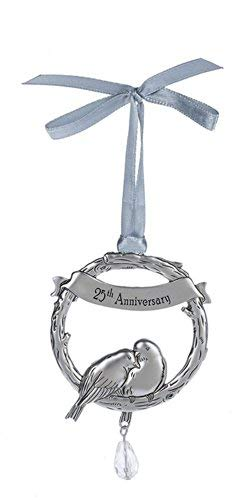 (25th Wedding Anniversary Ganz Beautiful Zinc Love Bird Ornament with Sentiment Featuring White Organza Ribbon for Hanging)