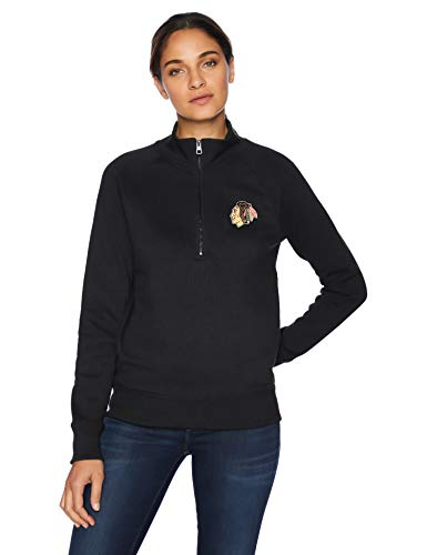 (OTS NHL Chicago Blackhawks Female Fleece 1/4-Zip Foil Pullover, Jet Black, Small)