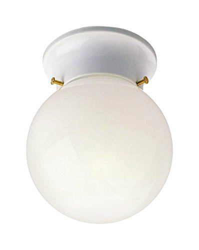 (Westinghouse Lighting 6620900 One-Light Flush-Mount Interior Ceiling Fixture, White Finish with White Glass Globe)