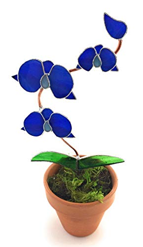 Blue Water Stained Glass Orchid in Pot - 3D Flowers - Handmade