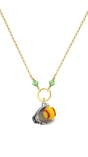 Extra Large Softball and Glove Lime Bicone Gold Tone Karma Ring Necklace