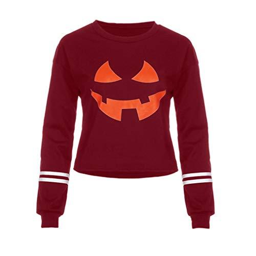 UOKNICE Women Round Neck Halloween Grimace Pumpkin Print Long Sleeve Casual Sweatshirt Tops -