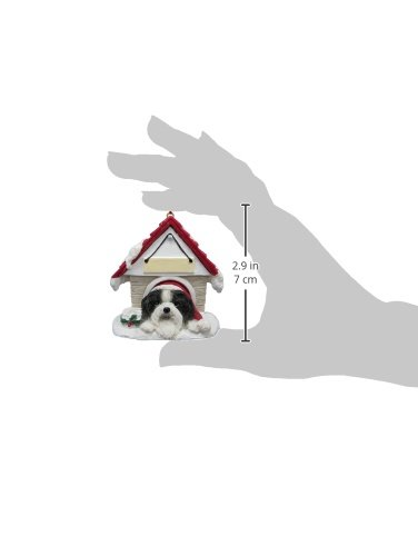 Shih Tzu Black and White Ornament A Great Gift For Shih Tzu Owners Hand Painted and Easily Personalized Doghouse Ornament With Magnetic Back E/&S Imports Inc 35355-39