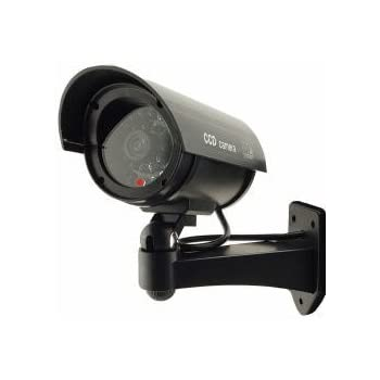 This Item Outdoor Waterproof Fake Dummy Security Camera With Blinking Light Black