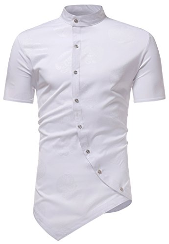 Paisley Design Shirt (HOP Men's Casual Short Sleeve Irregular Longline Hem Slim Fit Paisley Button Down Dress Shirt Bandanna Embrodiery HOPM120-White-S)