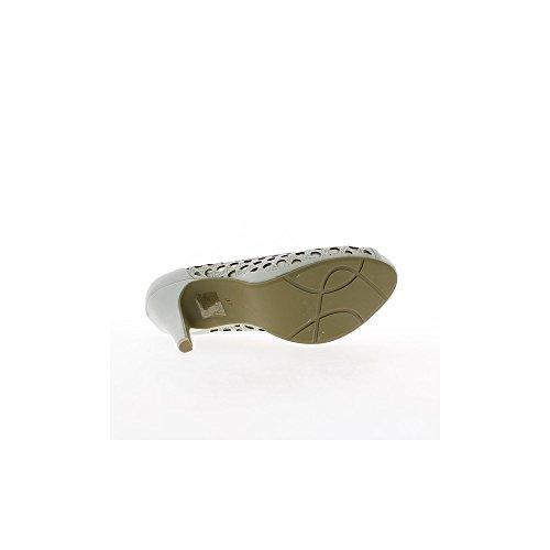Escarpins ajourés ouverts gris mat à talons de 11cm et plateforme de 3cm
